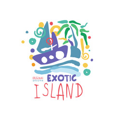 Exotic island logo template original design vector
