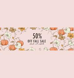 fall promotion template pumpkin bloom design kids vector image