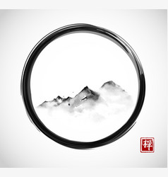 Far mountains in fog in black enso zen circle vector