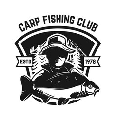 Fishing camp emblem template with carp fish vector