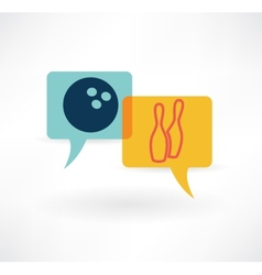 flat speech bubble icon with bowling items vector image