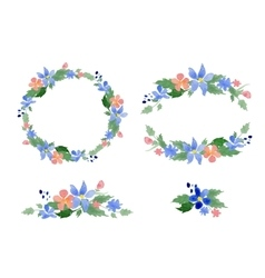 Floral watercolor wreaths frames bouquets vector