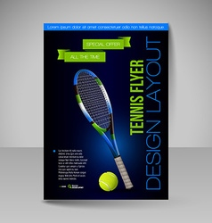 Flyer template sport elements for design Tennis vector image
