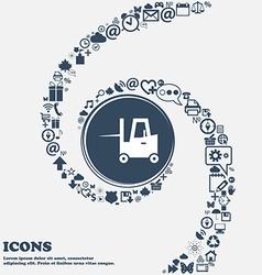 Forklift icon in the center Around the many vector