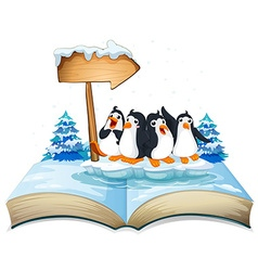 Four penguins standing on ice vector