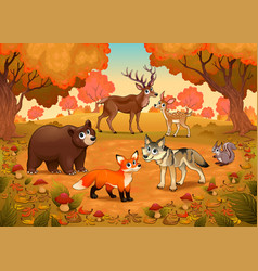 Funny animals in wood vector