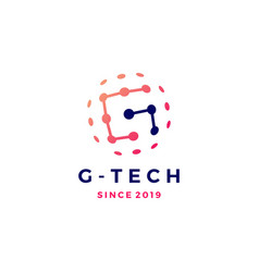 g letter tech connection sphere planet logo icon vector image