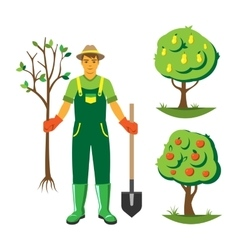 Gardener with trees flat set vector