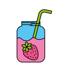 glass jar of juice strawberry with straw beverage vector image
