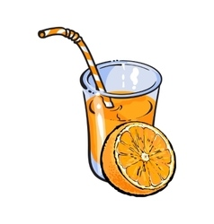 Glass of freshly squeezed juice with orange half vector