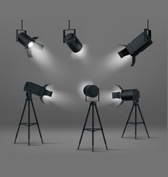 glowing spotlights for studio or stage vector image