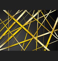 golden stripes pattern on black background vector image