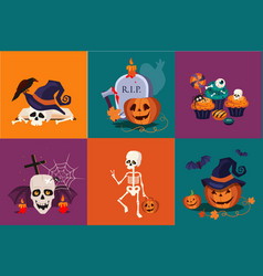 Halloween symbols set funny skeleton traditional vector