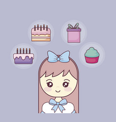 happy birthday with little girl and set icons vector image