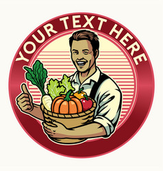 Happy farmer badge show his crop vector