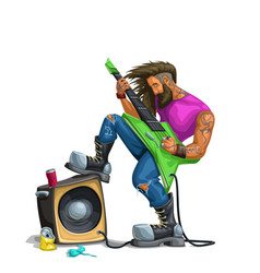 Hard rock guitarist playing on white vector