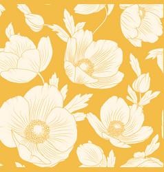 hellebore flowers seamless pattern yellow orange vector image