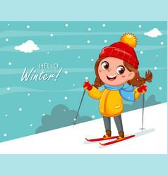 Kid skiing cute skier girl cartoon character vector