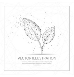 Leaves digitally drawn low poly wire frame vector
