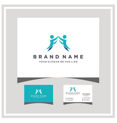 Letter f people logo design and business card vector