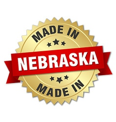 Made in Nebraska gold badge with red ribbon vector