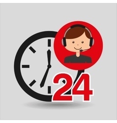 Man assitance 24 hours clock vector