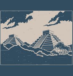 Mayan pyramids retro poster vector