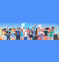 Mix race people crowd in masks standing together vector