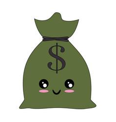 Money bag isolated kawaii cartoon vector
