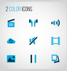 multimedia icons colored set with pause movie vector image