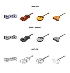 musical instrument cartoonoutlinemonochrome vector image