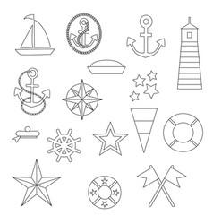 Nautical digital stamps vector