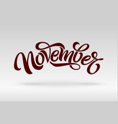 November typography modern brush calligraphy vector