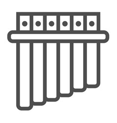 Panpipe line icon musical and instrument vector
