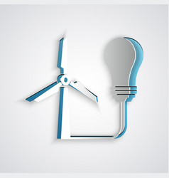 Paper cut light bulb with wind turbine as idea of vector