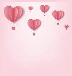 paper hearts with cloud pink background card vector image