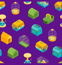 Pet carriers signs 3d seamless pattern background vector