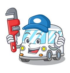 Plumber ambulance mascot cartoon style vector