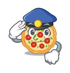 Police margherita pizza in a cartoon oven vector