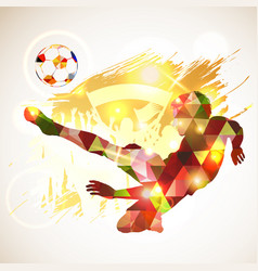 poster soccer player victory blow vector image
