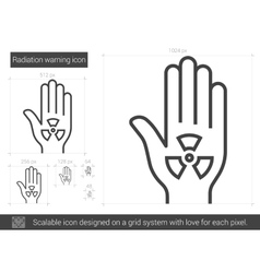 Radiation warning line icon vector