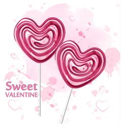 red heart lollipop candy watercolor sweet vector image