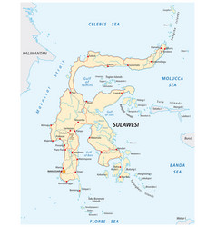 road map indonesian island sulawesi vector image