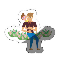 Romantic couple sitting flower garden shadow vector