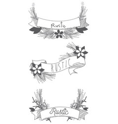 Rustic ribbon banner with flowers hand drawn vector