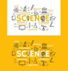 science and education outline symbols vector image