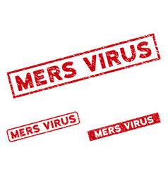 Scratched mers virus rectangular stamp seals vector
