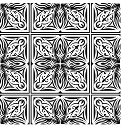 Seamless abstract tribal black-white pattern hand vector