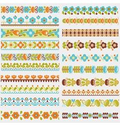 Seamless borders colour vector