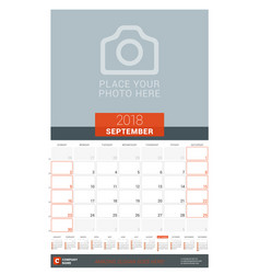 September 2018 wall monthly calendar planner for vector